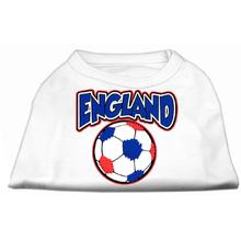 England Soccer Print Dog Shirt - White