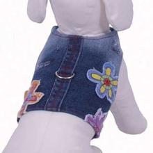 Euphoria Flower Denim Harness Vest w/ Leash - Blue