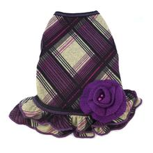 Fall Plaid Sweater Dog Dress - Purple and Black