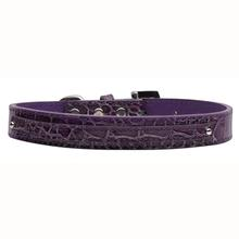 Faux Crocodile Two Tiered Dog Collar with 10MM Letter Strap - Purple