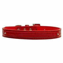 Faux Crocodile Two Tiered Dog Collar with 10MM Letter Strap - Red