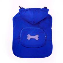 Fleece-Lined Stowaway Dog Rain Jacket - Blue