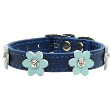 Flower Blue Leather Dog Collar - Baby Blue Flowers