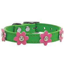 Flower Emerald Green Leather Dog Collar - Pink Flowers
