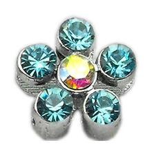 Flower Slider Dog Collar Charm - Turquoise