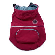 FouFouDog Rainy Day Dog Poncho with Built-in Travel Pouch - Burgundy