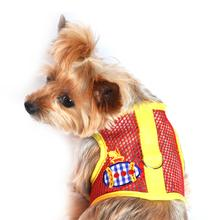 Gingham Submarine Mesh Dog Harness - Yellow and Red