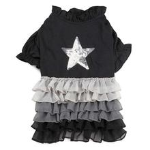 Glimmer Ruffle Dog Dress - Black