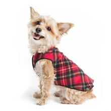 Gold Paw Reversible Double Fleece Jacket - Red Tartan/Black