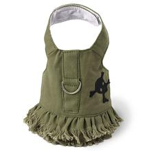 Green Jean Denim Skull Dress Harness by Doggles