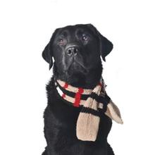 Handmade Plaid Wool Dog Scarf - Tan