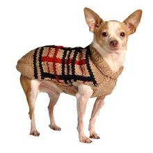 Handmade Wool Plaid Dog Sweater - Tan