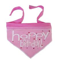 Happy Birthday Dog Bandana Scarf - Light Pink