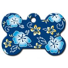 Hawaiian Bone Large Engraveable Pet I.D. Tag - Blue