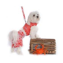 Hawaiian Print Dog Board Shorts - Red