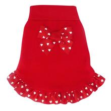 Heart Bow Ruffled Dog Pullover Dress - Red