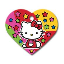 Hello Kitty Heart Large Engraveable Pet I.D. Tag - Red with Stars