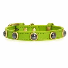 Hematite Pebbies Dog Collar - Green