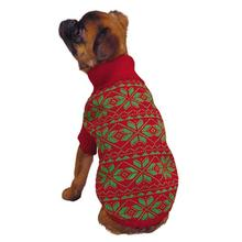 Holiday Snowflake Dog Sweater - Red