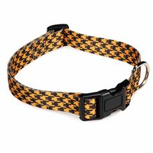 Houndstooth Bat Dog Collar - Orange