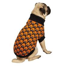 Houndstooth Bat Dog Sweater - Black and Orange