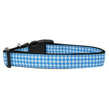 Houndstooth Nylon Dog Collar - Blue