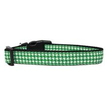 Houndstooth Nylon Dog Collar - Emerald Green