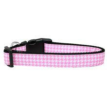 Houndstooth Nylon Dog Collar - Pink