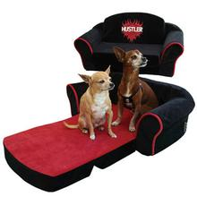 Hustler Sleeper Sofa Dog Bed - Black with Red Interior