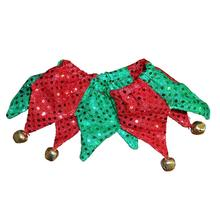 Huxley & Kent Holiday Sequin Jester Dog Collar Scrunchie - Red and Green