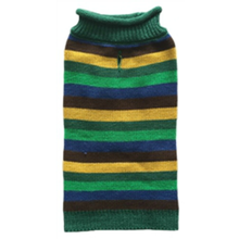 Huxley & Kent Rugby Striped Winter Dog Sweater - Green