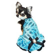 Ice Princess Dog Dress by Hip Doggie - Blue