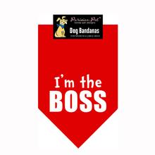 I'm the Boss Dog Bandana - Red