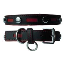 Inlaid Leather Dog Collar - Black with Red