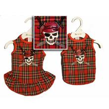 Jolly Roger Dog Tank - Red Plaid
