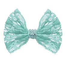 Lace and Crystals Dog Bow - Aqua