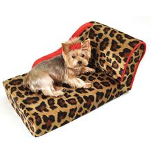Leopard Chaise Lounge Dog Bed