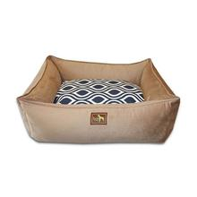 Luca Lounge Dog Bed - Camel/Indigo Flicker