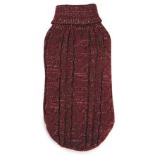 Lurex Cable Knit Dog Sweater - Cabernet