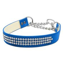 Martingale 3 Row Crystal Dog Collar - Blue