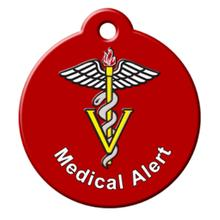Medical Alert QR Code Pet ID Tag by BarkCode - Red