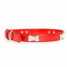 Metallic Crystal Bone Dog Collar - Red
