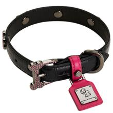 Monarch Black Pink Diamonds Dog Collar by Chrome Bones