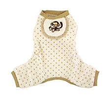 Monkey Design Dog Pajamas - Beige