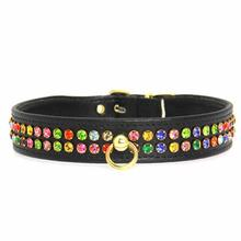 Multi-Colored Crystal Dog Collar - Black