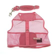 Netted Dog Harness with Leash - Pink