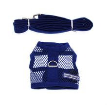 Netted Dog Harness with Leash - Royal Blue