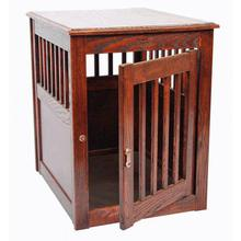 Oak End Table Dog Crate - Mahogany