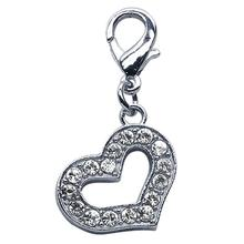 Open Heart Crystal Dog Collar Charm - Clear
