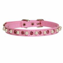 Patent Pearl and Crystal Dog Collar - Pink